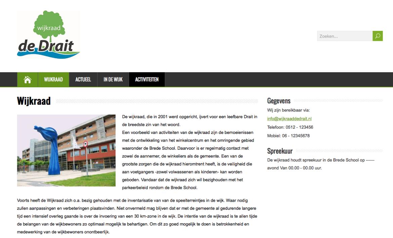 Screenshot van de nieuwe website van Wijkraad de Drait